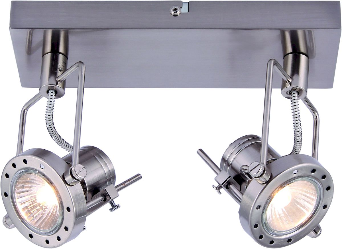 Светильник настенный Arte Lamp Costruttore. A4300AP-2SSA4300AP-2SSСветильник Arte Lamp Costruttore поможет создать в вашем доме атмосферу уюта и комфорта. Благодаря высококачественным материалам он практичен в использовании и отлично работает на протяжении долгого периода времени. Цоколь: GU10, 2х50 Ватт. Поворотные плафоны и ножка. Крепление: монтажная планка шурупами.