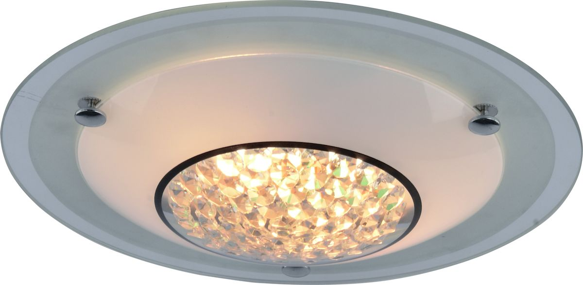 Светильник потолочный Arte Lamp Giselle. A4833PL-2CCA4833PL-2CCПотолочный светильник Arte Lamp Giselle поможет создать в вашем доме атмосферу уюта и комфорта. Благодаря высококачественным материалам он практичен в использовании и отлично работает на протяжении долгого периода времени. Оригинальный современный светильник из матового стекла подойдет для любого помещения. Центр светильника состоит из стеклянных бусин. Лампы: Е27; 1x60 W. Тип крепления: на шурупах.