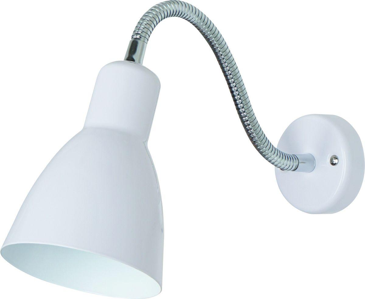 Светильник настенный Arte Lamp MercoledA5048AP-1WHДля создания полноценного освещения необходимо использовать не только потолочные источники света, но и настенные светильники. Особенной популярностью пользуются настенные бра. Для интерьеров, оформленных в стиле модерн, замечательным выбором станет светильник Arte Lamp Mercoled. Изделие, изготовленное из качественных материалов, обладает интересным, привлекающим внимание дизайном и изящно декорировано. Высокая прочность и надежность светильника обусловлены использованием в производстве материалов высокого качества. Корпус выполнен из металла. Мощность изделия в 60 Вт позволяет создать уютную световую зону площадью 3 квадратных метра, использовать которую можно как для комфортной работы, так и для спокойного отдыха. Внешний вид светильника предполагает его размещение в гостиной, кафе или спальне.