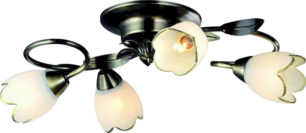 Светильник потолочный Arte Lamp Perce. A6061PL-4ABA6061PL-4ABПотолочный светильник Arte Lamp Perce поможет создать в вашем доме атмосферу уюта и комфорта. Благодаря высококачественным материалам он практичен в использовании и отлично работает на протяжении долгого периода времени. Люстра с четырьмя плафонами из матового стекла в виде бутонов цветков. Плафоны направлены в разные стороны. Лампы: E14; 4x60W.Диаметр люстры: 56 см. Тип крепления: скоба на шурупах.