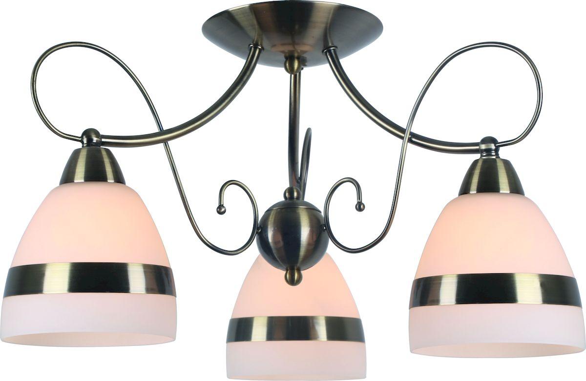 Светильник потолочный Arte Lamp Noemi. A6192PL-3ABA6192PL-3ABПотолочный светильник Arte Lamp Noemi поможет создать в вашем доме атмосферу уюта и комфорта. Благодаря высококачественным материалам он практичен в использовании и отлично работает на протяжении долгого периода времени. Современная люстра с тремя плафонами из матового стекла. Плафоны направлены вниз. Лампы: Е14; 3x40 W. Диаметр люстры: 53 см. Тип крепления: скоба на шурупах.