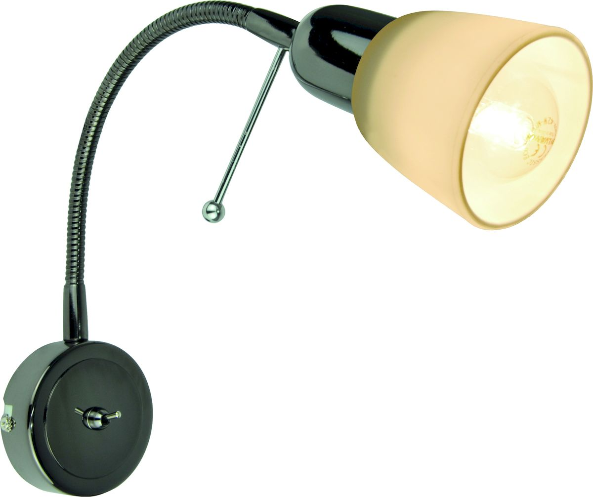 Светильник настенный Arte Lamp LetturaA7009AP-1BCДля создания полноценного освещения необходимо использовать не только потолочные источники света, но и настенные светильники. Особенной популярностью пользуются настенные бра. Для интерьеров, оформленных в стиле модерн, замечательным выбором станет светильник Arte Lamp Lettura. Изделие, изготовленное из качественных материалов, обладает интересным, привлекающим внимание дизайном и изящно декорировано. Высокая прочность и надежность светильника обусловлены использованием в производстве материалов высокого качества. Корпус выполнен из металла. Мощность изделия в 40 Вт позволяет создать уютную световую зону площадью 2 квадратных метра, использовать которую можно как для комфортной работы, так и для спокойного отдыха. Внешний вид светильника предполагает его размещение в гостиной, кафе или спальне.