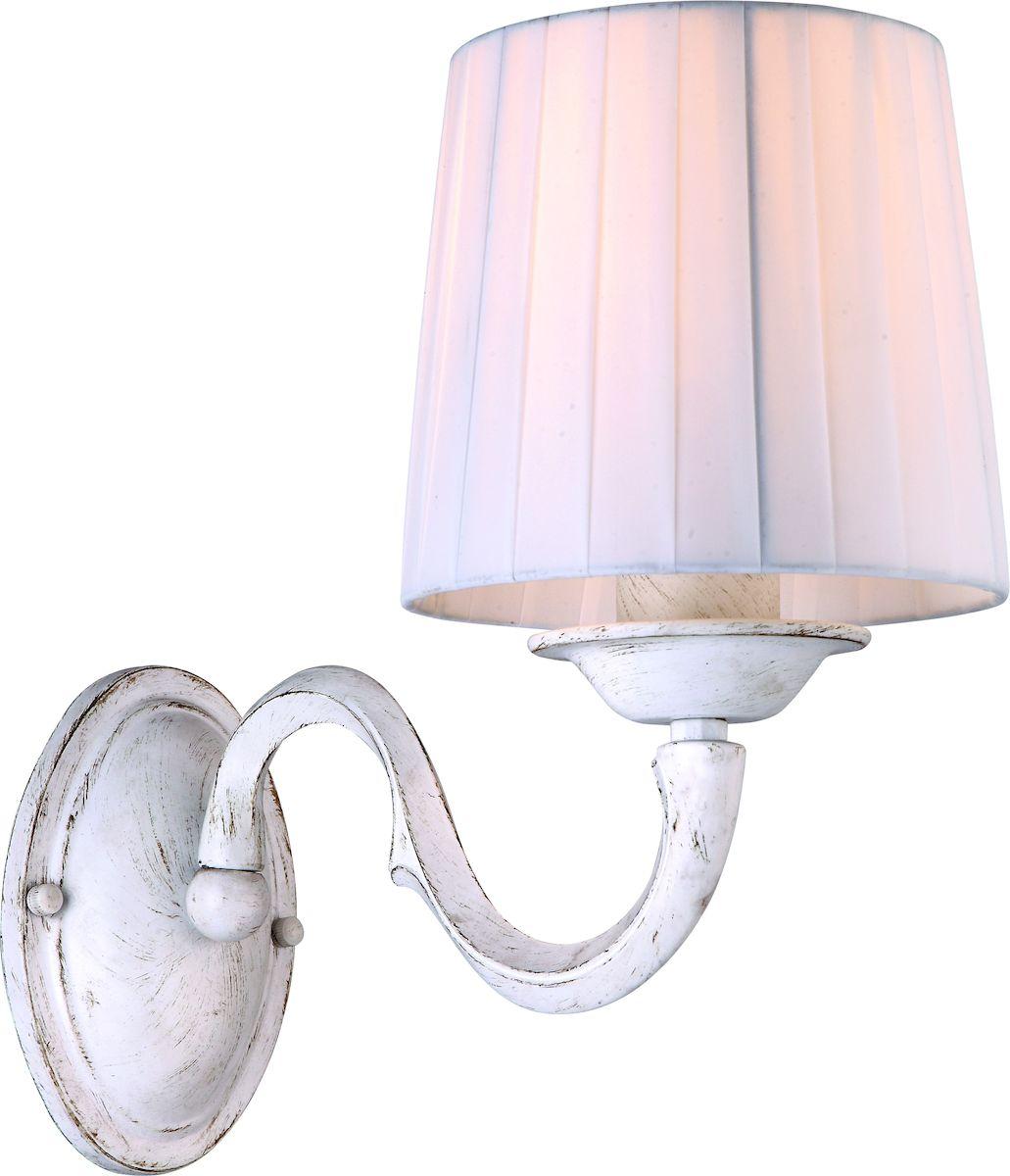 Светильник настенный Arte Lamp Alba A9395AP-1WGA9395AP-1WGНастенный светильник Arte Lamp Alba станет украшением вашей комнаты и оригинально дополнит интерьер. Изделие крепится к стене. Такой светильник отлично подойдет для освещения кабинета, столовой, спальни или гостиной.
