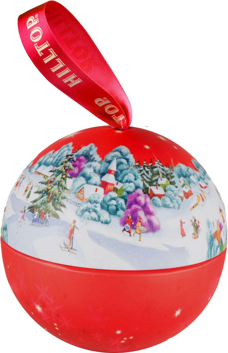 Hilltop Новогодний шар Веселый каток ароматизированный листовой чай с чабрецом, 80 г4607099307070Hilltop Новогодний шар Веселый каток - крупнолистовой цейлонский черный чай с листьями и тонизирующим ароматом чабреца. Поставляется в красочной подарочной упаковке. Отлично подойдет в качестве подарка на новогодние праздники.