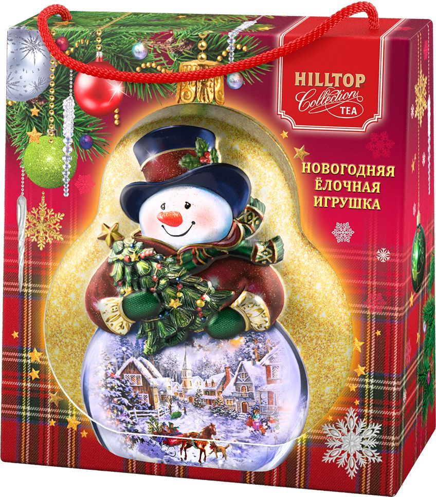 Hilltop Елочная игрушка Снеговик Земляника со сливками ароматизированный листовой чай, 50 г кинто хрен со сливками 180 г