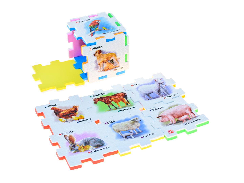 Нескучный кубик Пазл для малышей Домашние животные