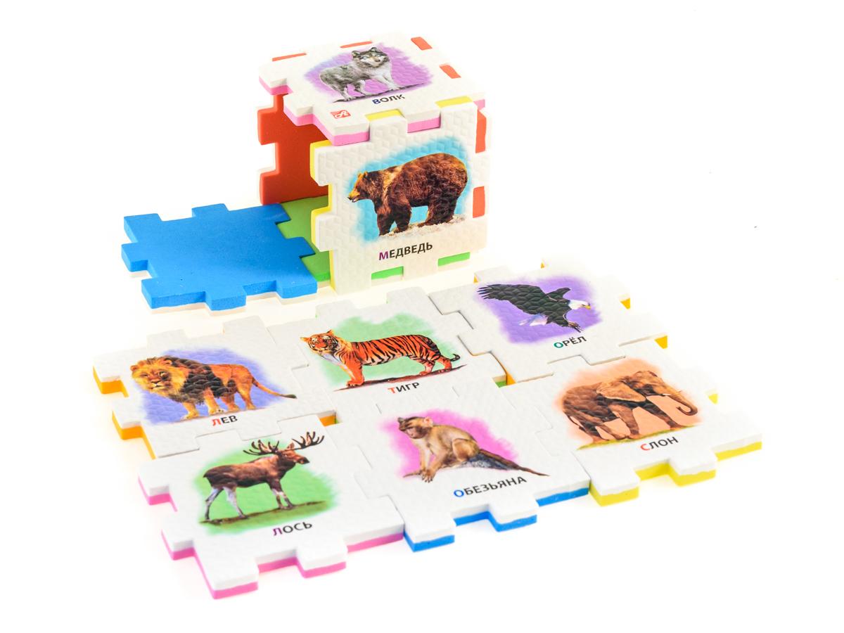 Нескучный кубик Пазл для малышей Дикие животные