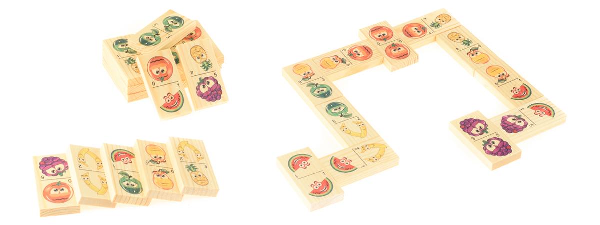 Развивающие деревянные игрушки Домино Мульт-фрукты развивающие деревянные игрушки кубики животные