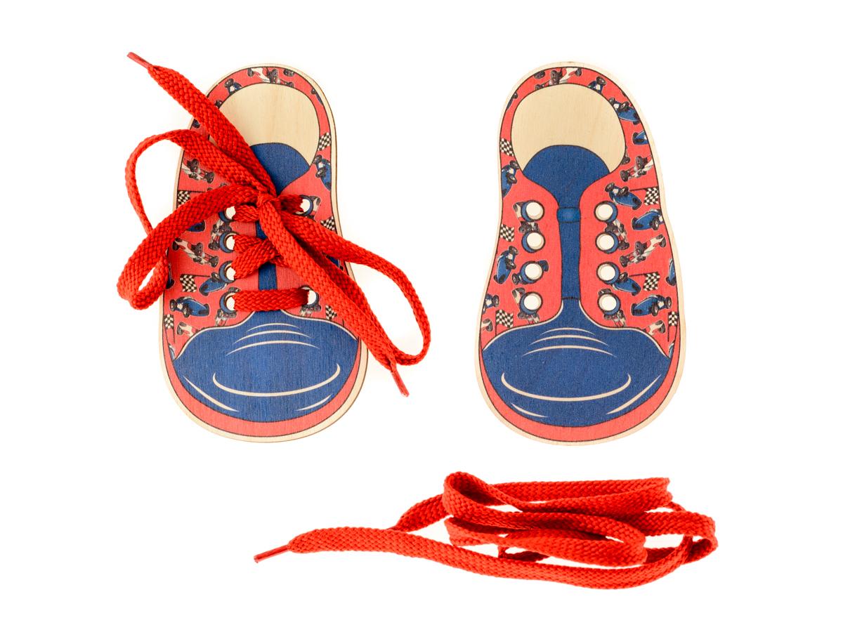 Развивающие деревянные игрушки Шнуровка Ботинки Машинки