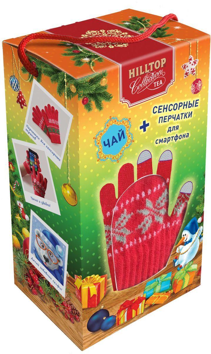 """Hilltop Набор """"Новогоднее чаепитие"""" Подарок Цейлона черный листовой чай, 80 г + сенсорные перчатки в подарок"""