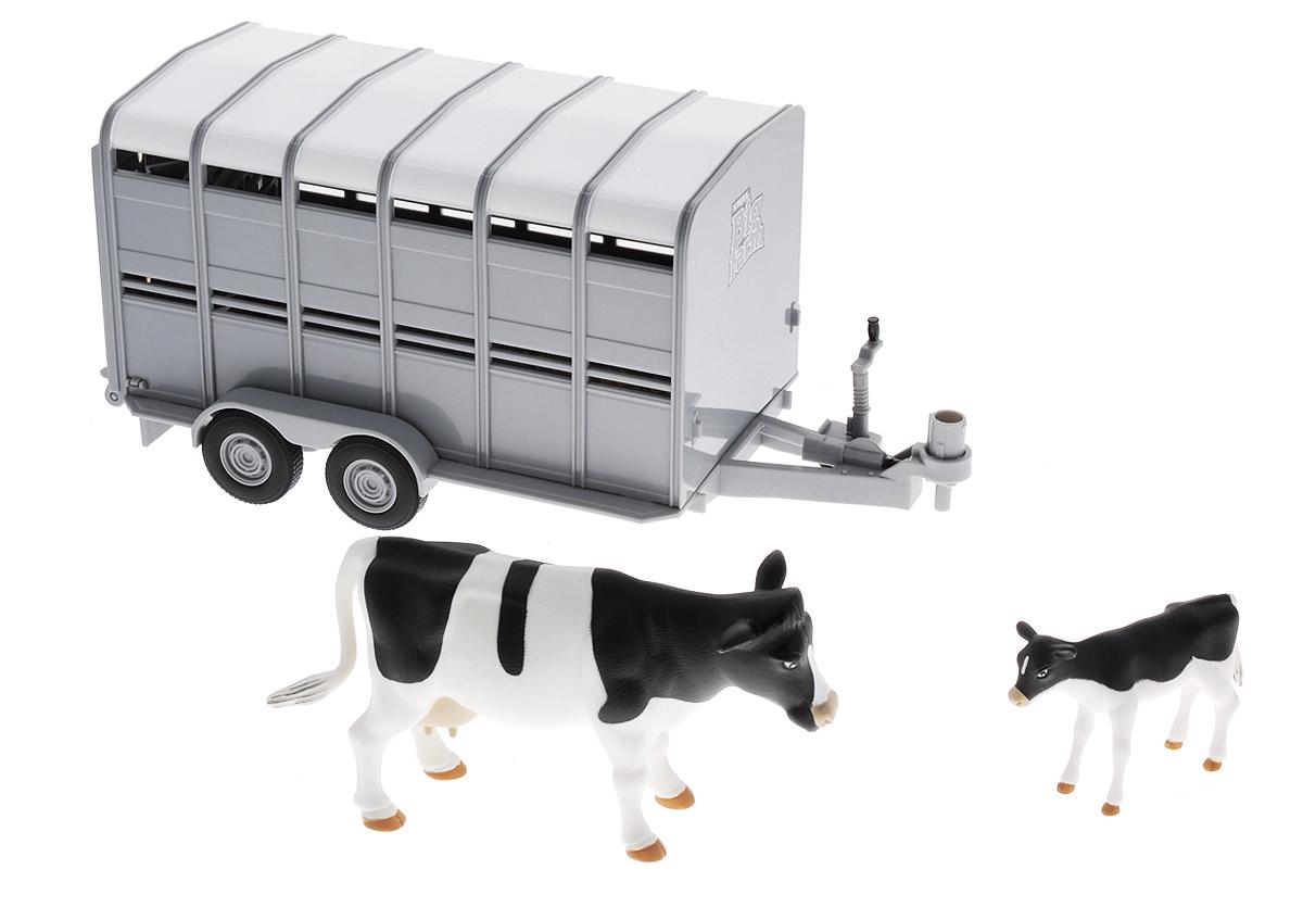 Tomy Трейлер для перевозки животных с коровой и теленком набор tomy aquadoodle цветная радуга