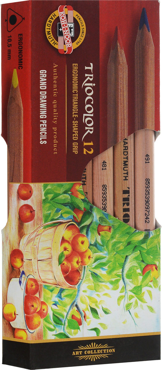 Koh-i-Noor Цветные карандаши Triocolor художественные 12 цветов3152N/12 KS, 3152Цветные художественные карандаши Triocolor непременно, понравятся вашему юному художнику.Набор включает в себя 12 ярких насыщенных цветных карандашей, которые идеально подходят для малышей. Эргономичный трехгранный утолщенный корпус изготовлен из натуральной неокрашенной древесины. Карандаши имеют прочный неломающийся грифель, не требующий сильного нажатия. Карандаши легко затачиваются.Порадуйте своего ребенка таким восхитительным подарком!