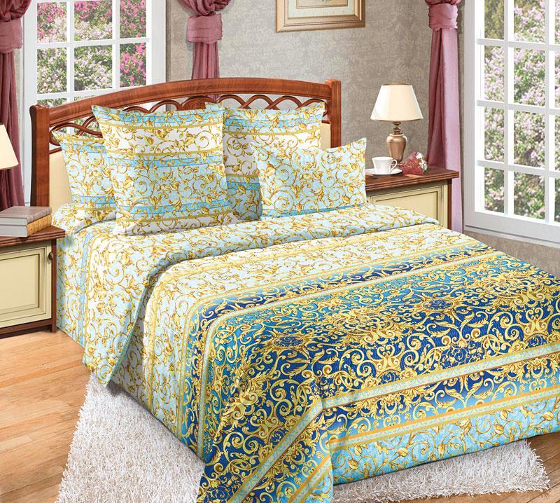 Комплект белья Текс-Дизайн Людовик 1, 1,5 спальный, наволочки 70x701250ПЕсли вы хотите купить не только качественный и красивый, но и статусный комплект постельного белья, то обратите внимание на перкалевый набор Людовик 1 с эксклюзивной расцветкой. Поверхность комплекта покрыта эффектными, словно золотыми и по-королевски роскошными вензелями. Орнамент выглядит объемным и буквально завораживает.Перкаль - это тонкая и легкая хлопчатобумажная ткань высокой плотности полотняного переплетения, сотканная из пряжи высоких номеров. При изготовлении перкаля используются длинноволокнистые сорта хлопка, что обеспечивает высокие потребительские свойства материала. Несмотря на свою утонченность, перкаль очень практичен - это одна из самых износостойких тканей для постельного белья.