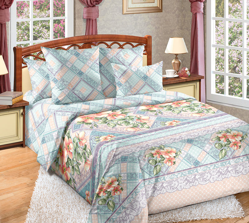Комплект белья Текс-Дизайн Мальвина 1, евро, наволочки 70x704250ПЕсли вы ищете сочетание спокойных оттенков и классического цветочного дизайна, то перкалевое постельное белье Мальвина - это то, что вам нужно. Из сочетания оригинальных цветочных букетов и сиренево-голубых геометрических узоров родилась эксклюзивная, универсальная и элегантная расцветка.Перкаль - это тонкая и легкая хлопчатобумажная ткань высокой плотности полотняного переплетения, сотканная из пряжи высоких номеров. При изготовлении перкаля используются длинноволокнистые сорта хлопка, что обеспечивает высокие потребительские свойства материала. Несмотря на свою утонченность, перкаль очень практичен - это одна из самых износостойких тканей для постельного белья.