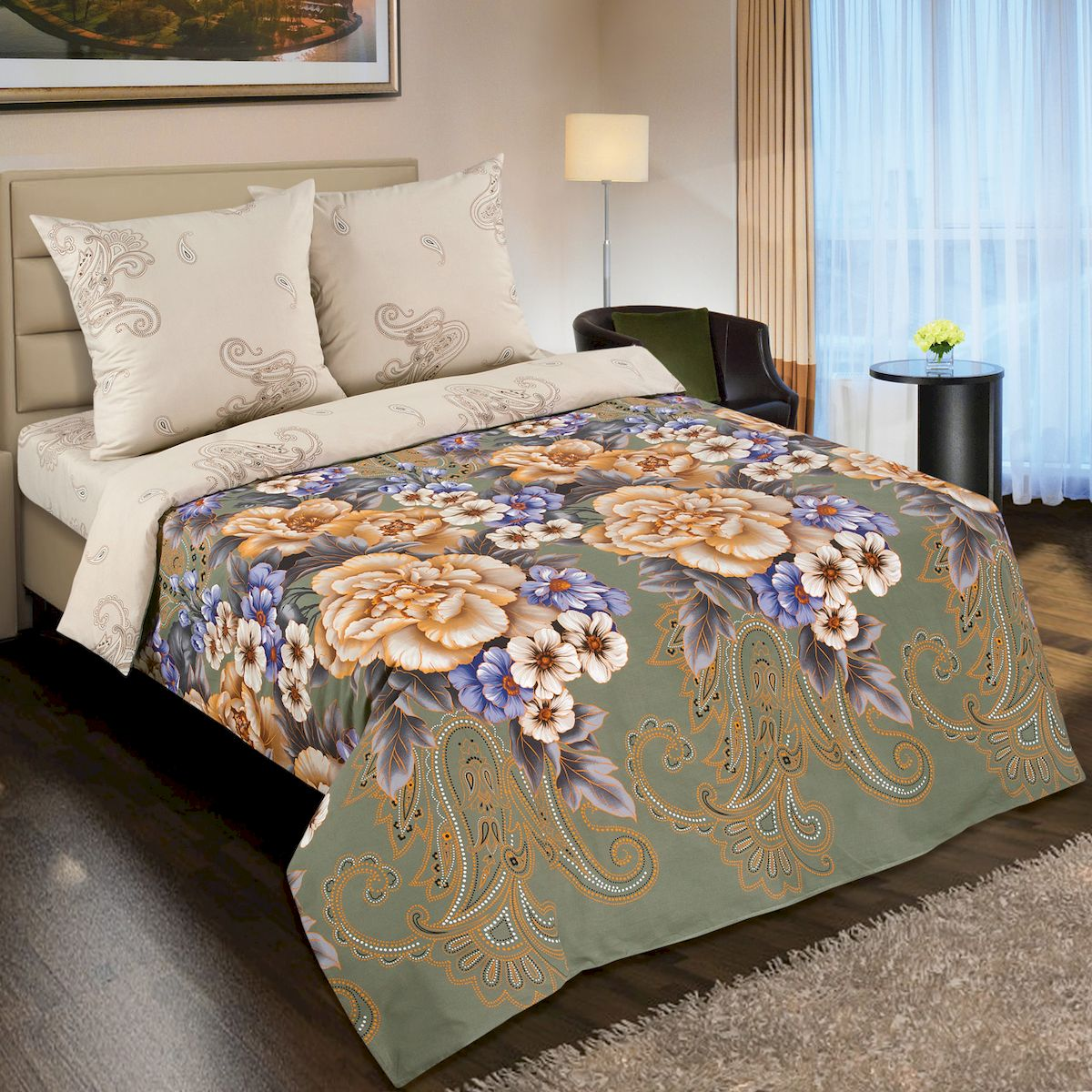 Комплект белья АртПостель Золотая вышивка, 1,5 спальное, наволочки 70 x 70. 900 артпостель в москве купить