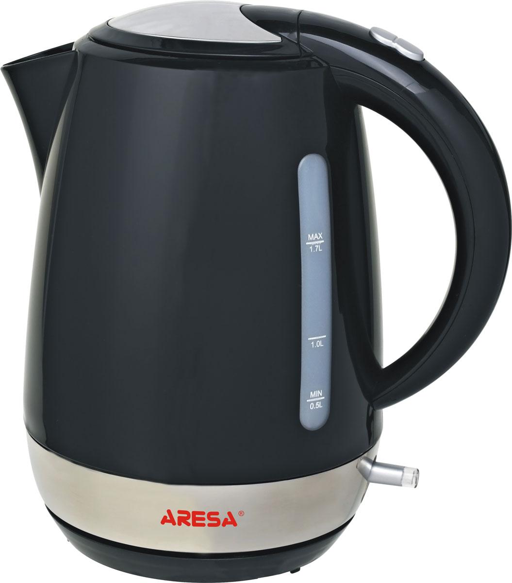 Aresa AR-3422 чайник электрическийAR-3422Надежный электрический чайник Aresa AR-3422 в корпусе из качественного пластика. Прибор оснащен скрытымнагревательным элементом и позволяет вскипятить до 1,7 литра воды за 3-5 минут. Данная модель оснащенасветоиндикатором работы, поворотной подставкой с вращением на 360° и фильтром от накипи. Для обеспечения безопасностипри повседневном использовании предусмотрены функция автовыключения, защита от перегрева, а такжеблокировка включения без воды.