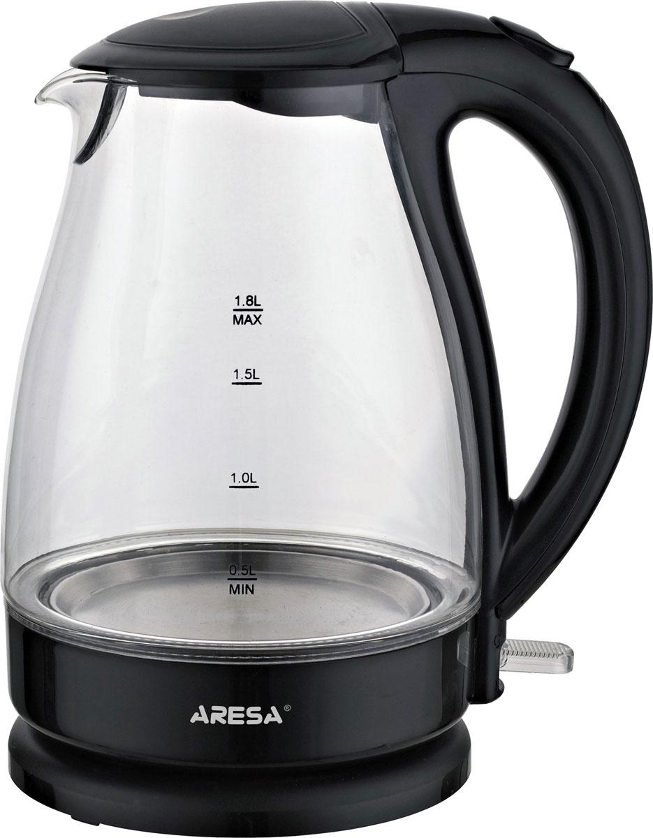 Aresa AR-3416 чайник электрическийAR-3416Надежный электрический чайник Aresa AR-3416 в корпусе из термостойкого стекла со Strix контроллером. Прибор оснащен скрытым нагревательным элементом и позволяет вскипятить до 1,8 литра воды за 3-5 минут. Данная модель оснащена стильной неоновой подсветкой емкости, поворотной подставкой с вращением на 360° и фильтром от накипи. Для обеспечения безопасности при повседневном использовании предусмотрены функция автовыключения, защита от перегрева, а также блокировка включения без воды.
