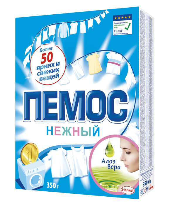 Порошок стиральный Пемос Нежный, алоэ вера, 350 г935227Пемос Нежный отлично отстирывает различные загрязнения, а входящая в его состав отдушка содержит экстракт Алоэ Вера.Пемос Нежный подходит для людей с чувствительной кожей, что подтверждено Европейским центром исследований проблем аллергии (ECARF).С помощью всего лишь одной пачки Пемос Нежный вы сможете отстирать более 50 вещей.Пемос Нежный стирает много, стоит недорого.Результат - чистота и свежесть ваших вещей в сочетании с заботой о нежной коже.
