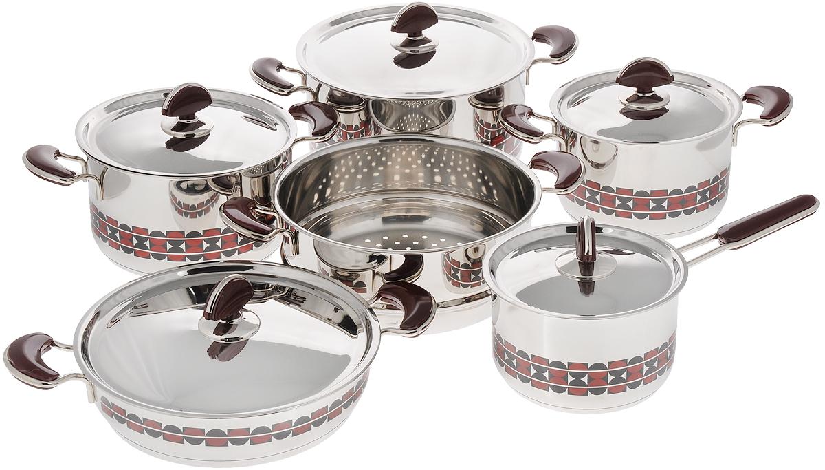 Набор посуды Kitchen-Art EX Pot, 11 предметовZH3000_новый дизайнНабор посуды Kitchen-Art EX Pot состоит из четырех кастрюль, ковша и дуршлага-вставки. Изделия выполнены из нержавеющей стали Премиум-ЛЮКС (Южная Корея). Материал обладает высокой стойкостью к коррозии и кислотам. Прочность, долговечность и надежность этого материала, а также первоклассная обработка обеспечивают практически неограниченный запас прочности. Зеркальная полировка придает посуде привлекательный внешний вид.Дно посуды с трехслойным напылением. Идеально ровная внутренняя поверхность облегчает процесс чистки.Посуда оснащена удобными металлическими ручками с пластиковыми вставками, которые не нагреваются в процессе приготовления пищи. Крышки изготовлены из нержавеющей стали с пластиковыми ручками. Крышки имеют отверстия для выпуска пара.Набор посуды Kitchen-Art EX Pot - это модный европейский дизайн, обтекаемые линии и формы. Все изделия имеют красивый геометрический рисунок. Каждое изделие упаковано в индивидуальную упаковку.Можно использовать на всех типах плит кроме индукционных. Можно мыть в посудомоечной машине. Объем кастрюль: 2,5 л, 2,5 л, 4 л, 7 л. Диаметр кастрюль: 18 см, 20 см, 24 см, 24 см. Высота стенок кастрюль: 12 см, 12 см, 6,5 см, Диаметр дуршлага-вставки: 24 см. Высота стенки дуршлага-вставки: 10 см. Объем ковша: 2,1 л. Диаметр ковша: 16 см. Длина ручки ковша: 15,5 см. Высота стенки ковша: 10,5 см.