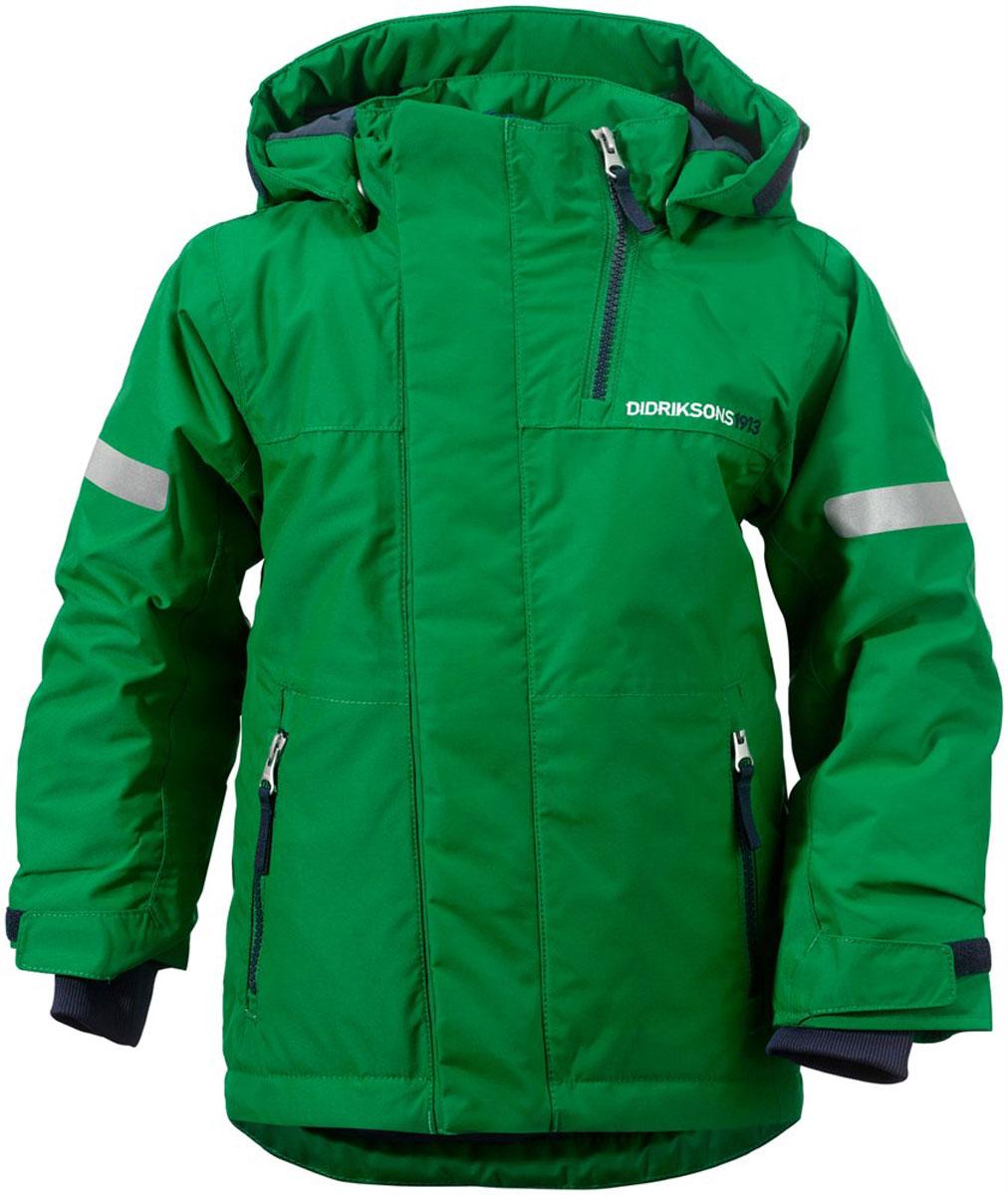 Куртка детская Didriksons1913 Rovda, цвет: зеленый. 501023_192. Размер 80501023_192Яркая детская куртка Didriksons1913 Rovda идеально подойдет для ребенка в прохладное время года. Куртка выполнена из непромокаемой и непродуваемой мембранной ткани. Наполнитель из синтепона надежно сохранит тепло.Куртка с воротником-стойкой и съемным капюшоном на кнопках застегивается на удобную застежку-молнию спереди и имеет ветрозащитный клапан на липучках и кнопках, объем капюшона регулируется при помощи хлястика на липучках. Воротник дополнен застежкой-молнией, которая позволяет увеличить его объем. Рукава оснащены внутренними трикотажными манжетами и хлястиками на липучках. Низ модели дополнен шнурком-кулиской со стоппером и вставкой на кнопках, дополненной силиконовой лентой, которая обеспечит надежное прилегание и защитит ребенка от ветра, попадания снега и влаги. Спереди расположены два втачных кармана на застежках-молниях. Куртка дополнена светоотражающими полосками на рукавах, спинке и капюшоне. Рассчитана на температуру от -5°С до -20°С (при соблюдении принципа многослойности).Модель растет вместе с ребенком: уникальный крой изделия позволяет при необходимости увеличить длину рукавов на один размер, распустив специальный внутренний шов.В такой куртке ваш ребенок будет чувствовать себя комфортно, уютно и всегда будет в центре внимания!