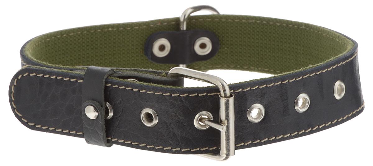 Ошейник Аркон Брезент, цвет: черный, хаки, ширина 3,5 см, длина 65 см комплект для собак аркон стандарт 6 цвет красный 2 предмета