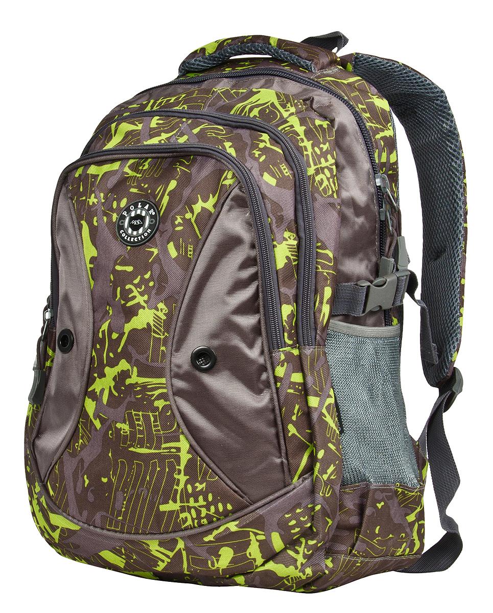 Рюкзак городской Polar, цвет: коричнево-зеленый, 24,5 л. 80062 рюкзак городской polar 27 л цвет темно зеленый п1955 08