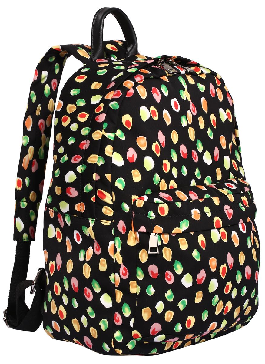 Рюкзак городской женский Pola, цвет: черный, зеленый, желтый, 14,5 л. 43454345Модный женский рюкзак Pola, выполненный из полиэстера и экокожи, оформлен оригинальным принтом. Изделие имеет одно основное отделение, которое закрывается на застежку-молнию. Внутри расположены два накладных открытых кармана, прорезной карман на застежке-молнии и мягкий карман для планшета. Снаружи, на передней стенке находится накладной карман на застежке-молнии. Рюкзак оснащен регулируемыми лямками и удобной ручкой для переноски в руках. Стильный рюкзак идеально дополнит ваш образ.