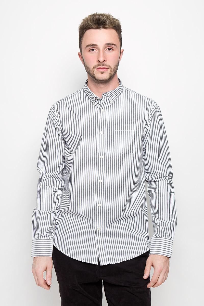 Рубашка мужская Baon, цвет: черный, белый. B676538. Размер M (48)