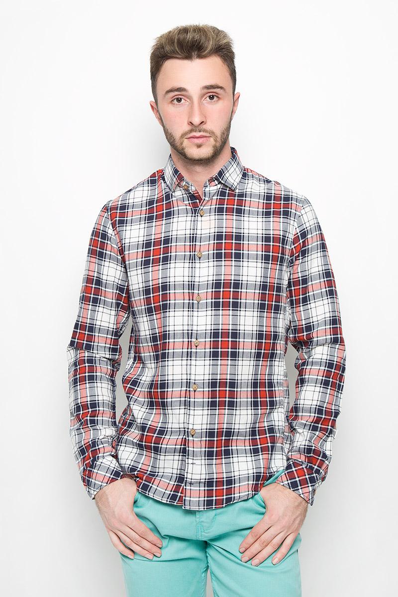 Рубашка мужская Tom Tailor Denim, цвет: темно-синий, белый, красный. 2032409.00.12_4681. Размер S (46) рубашка tom tailor denim 2055018 00 12 4266