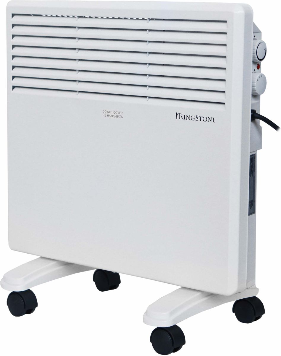 КingStone KH-1000 конвектор электрическийКingStone KH-1000Электрический конвектор КingStone KH-1000 - это современный, надежный, мобильный и экономичный обогреватель. Работа конвектора КingStone KH-1000 основана на принципе естественной конвекции: холодный воздух поступает внутрь обогревателя через отверстие в нижней части и, проходя через нагревательный элемент, уже нагретый воздух выходит через жалюзи, расположенные на передней панели обогревателя.Современный внешний вид позволяет гармонично вписать конвектор в любой интерьер.br>С влагостойким исполнением корпуса прибора IPX4 прибор можно использовать в помещениях с повышенной влажностью и обилием брызгУдобная в эксплуатации, интуитивно понятная панель управления облегчает использование прибора