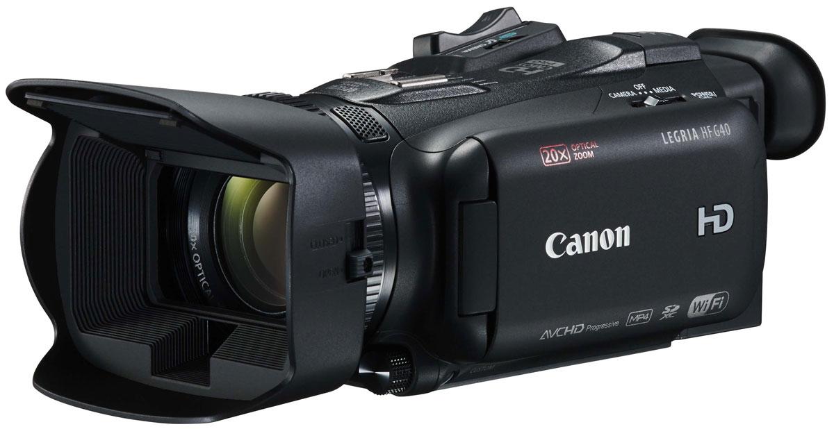 Canon LEGRIA HF G40, Black цифровая видеокамера1005C003Наслаждайтесь превосходным качеством изображения и управлением профессионального уровня с камерой Canon LEGRIA HF G40. Универсальная и удобная в использовании компактная ручная камера оснащена оптикой отличного качества, датчиком изображения HD CMOS PRO и режимом широкого динамического диапазона.Создавайте потрясающее видео AVCHD 1080p с высокой скоростью потока и различной частотой кадров при любом освещении благодаря широкому выбору профессиональных функций и средств ручного управления. К ним относятся: высокочувствительный 1/2,84-дюймовый датчик изображения CMOS PRO, большая 8-лепестковая диафрагма, режимы широкого динамического диапазона и приоритета светов, а также мощный оптический стабилизатор изображения.Камера Canon LEGRIA HF G40 обеспечивает невероятную универсальность работы в компактном корпусе для съемки с рук. Снимайте масштабные пейзажи и детализированные крупные планы с помощью светосильного широкоугольного зум-объектива 20x с диафрагмой f/1.8 и одновременно записывайте видео в форматах AVCHD и MP4. Наклонный видоискатель высокого разрешения позволяет снимать в ограниченных пространствах и из неудобных положений.Функция Wi-Fi позволяет выполнять удаленную съемку и управлять выдержкой, фокусировкой и диафрагмой с помощью мобильного устройства. К расширенным возможностям подключения относятся: разъемы для микрофона и наушников, прямой выход HDMI и AV, миниатюрная усовершенствованная колодка и крепление штатива, разъем USB и два разъема для SD-карт. Также доступна установка геотегов с помощью дополнительно приобретаемого аксессуара.Получайте быстрый доступ к важным функциям, благодаря интуитивно понятным меню на сенсорном экране и сенсорной автофокусировке с повторным поиском фокуса. Переключаемое кольцо зума/фокусировки, а также настраиваемые функциональные кнопки и диск ускоряют работу, поскольку часто используемые средства управления находятся у вас под рукой, и вы не упустите интересный кадр.Пер