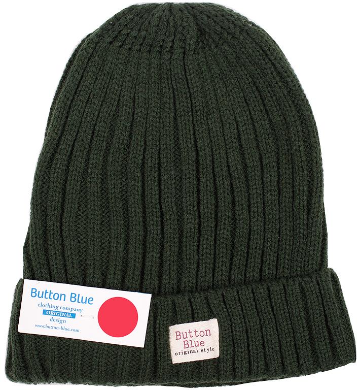 Шапка для мальчика Button Blue, цвет: зеленый. 216BBBX73040500. Размер 56, 12-13 лет216BBBX73040500Детская вязаная шапка - важный атрибут повседневной одежды! Модель выполнена из высококачественного материала, оформлена оригинальной вязкой и подворотом.