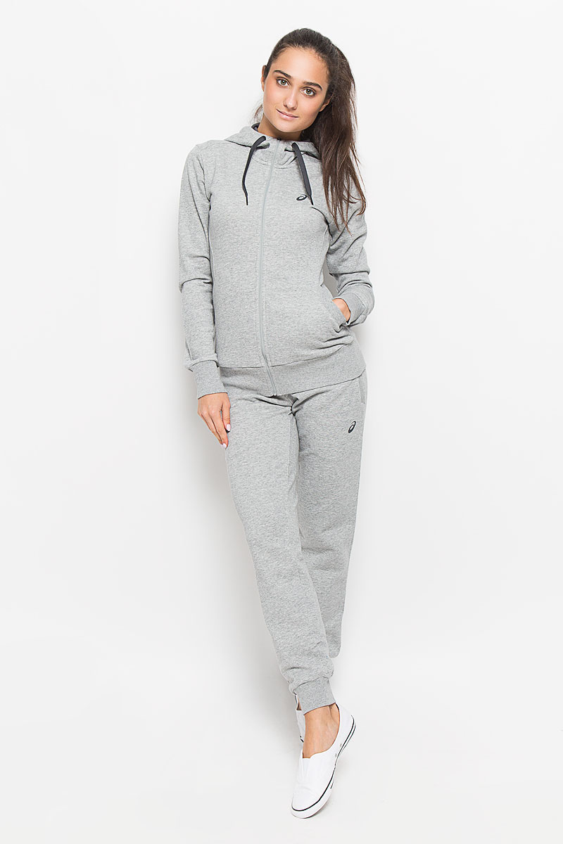 Тостовка женская Asics Fz Knit Hoodie, цвет: серый меланж. 134778-0714. Размер L (46/48) толстовка женская converse sportswear fz hoodie цвет серый 10001019022 размер l 48