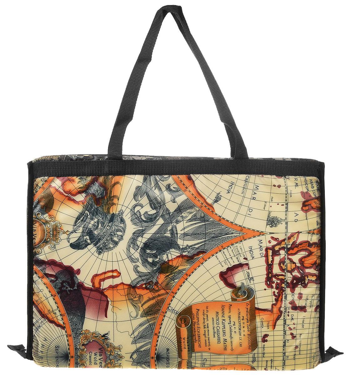 Сумка-коврик для пляжа Eva, цвет: черный, оранжевый, слоновая кость, 38 х 52 см коврик для пляжа соломенный купить