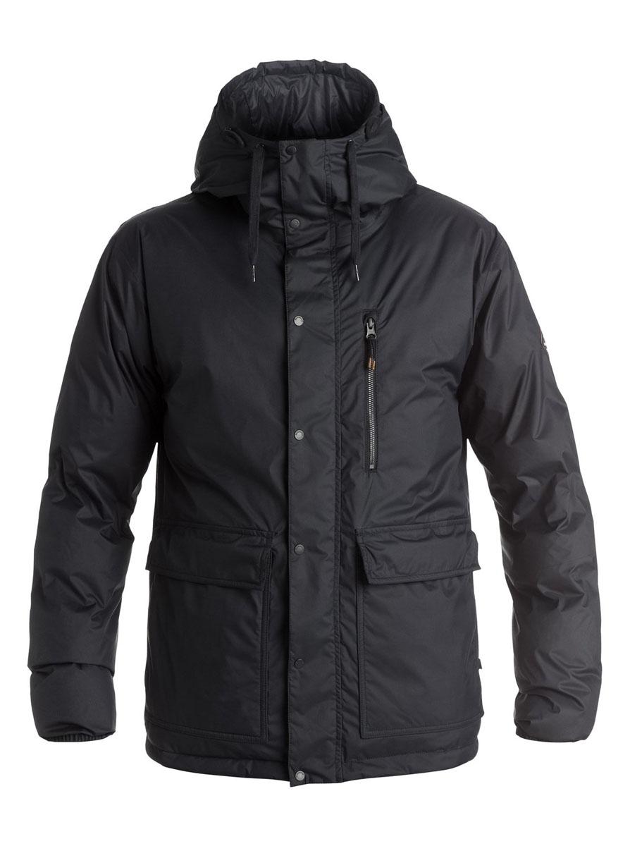 Куртка мужская Quiksilver Role, цвет: черный. EQYJK03218-KVJ0. Размер XL (54)EQYJK03218-KVJ0Двусторонняя мужская куртка Quiksilver Role c длинными рукавами и несъемным капюшоном выполнена из прочного полиэстера. Наполнитель - синтепон. Модель застегивается на застежку-молнию спереди и имеет ветрозащитный клапан на кнопках. Изделие имеет два накладных кармана с клапанами на кнопках и втачной карман на молнии с одной стороны, и два втачных кармана на застежках-молниях с другой. Манжеты рукавов оснащены эластичными резинками. Объем капюшона регулируется при помощи внешнего шнурка-кулиски.