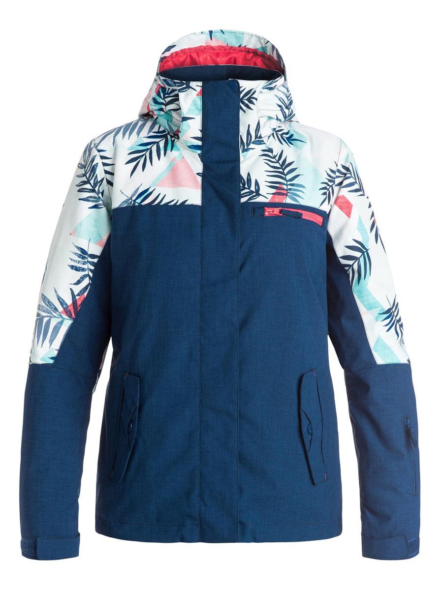 Куртка для сноуборда женская Roxy Jetty Block, цвет: синий, белый. ERJTJ03054-WBB7. Размер L (46/48)ERJTJ03054-WBB7Женская куртка для сноуборда выполнена из полиэстера с утеплителем Warmflight (тело 120 г, рукава 100 г, капюшон 60 г). Подкладка из тафты со вставками из трикотажа с начесом. Критические швы проклеены. Съемный капюшон регулируется тремя способами. Фиксированная противоснежная юбка из тафты с удобными кнопками.Система пристегивания куртки к штанам. Подкладка в районе подбородка.Куртка дополнена нагрудным карманом, внутренним медиакарманом, внутренним карманом для маски, брелоком для ключей.Лайкровые гейтеры в рукавах. Кармашек для скипасса на рукаве. Сеточная вентиляция подмышками.Карманы с теплой подкладкой.