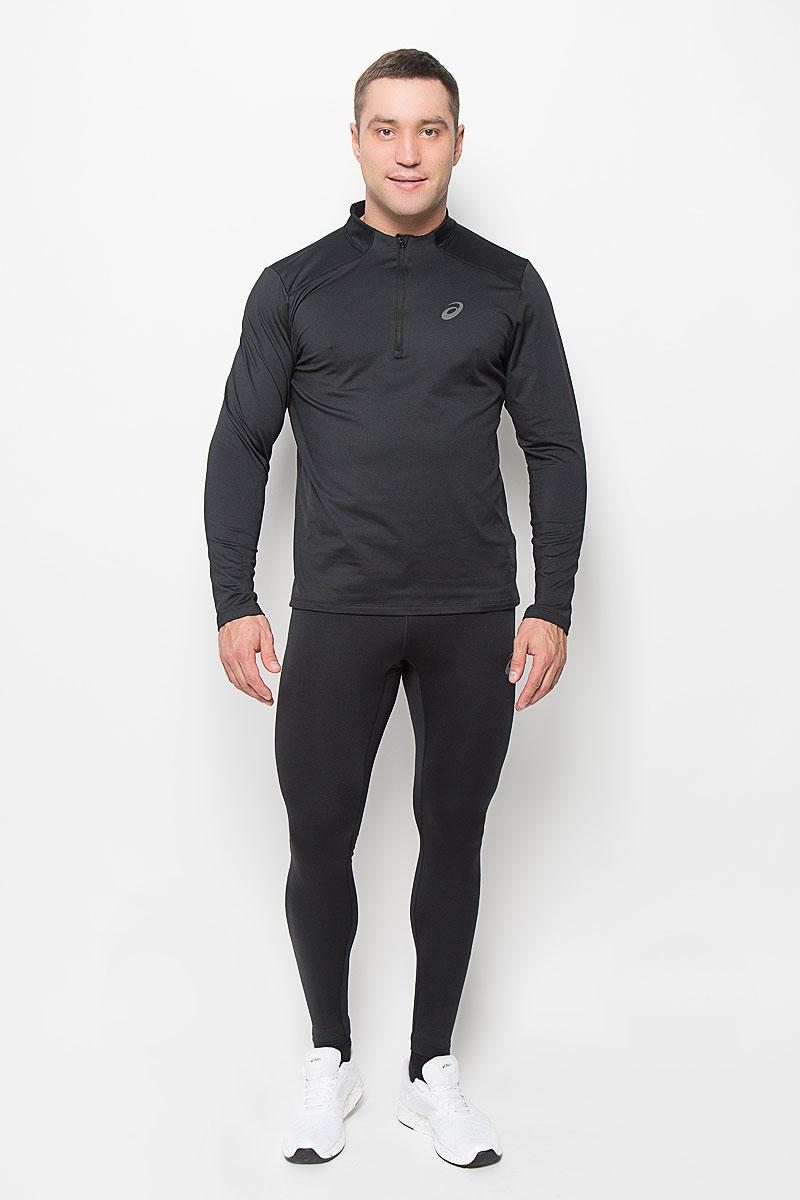 Лонгслив для бега мужской Asics Ess Winter 1/2 Zip, цвет: черный. 134090-0904. Размер S (46/48)134090-0904Мужская водолазка для бега Asics Ess Winter 1/2 Zip, выполненная из эластичного полиэстера, великолепно подойдет для занятий спортом в прохладные дни. Такой материал великолепно пропускает воздух, обеспечивая необходимую вентиляцию, приятен к телу и превосходно тянется, обеспечивая комфортную посадку по фигуре. Водолазка с длинными рукавами имеет удобные плоские швы. Воротник-стойка на застежке-молнии позволяет защитить шею от холода и ветра, а специальная вставка предотвращает натирание подбородка. Водолазка оформлена светоотражающим логотипом бренда спереди.Такая водолазка будет дарить вам комфорт в течение всего дня, в ней вы всегда будете чувствовать себя уверенно и уютно и непременно достигнете новых спортивных высот.