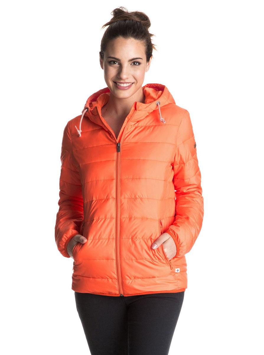 Куртка женская Roxy Forever Freely, цвет: оранжевый. ERJJK03158-MJW0. Размер XS (40/42)ERJJK03158-MJW0Женская куртка с капюшоном стеганого дизайна. На полосатой утяжке. Модель застегивается удобной бесшумной молнией. Куртка приталенного кроя с водоотталкивающей пропиткой.Возможно использовать как второй слой.Расчитана на температурный режим до -5 градусов.