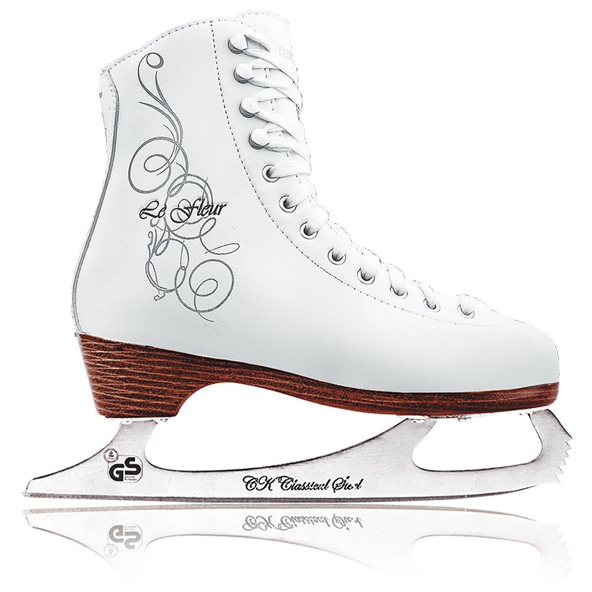 Коньки фигурные для девочки СК Le Fleur Leather 100%, цвет: белый, серебряный. Размер 30