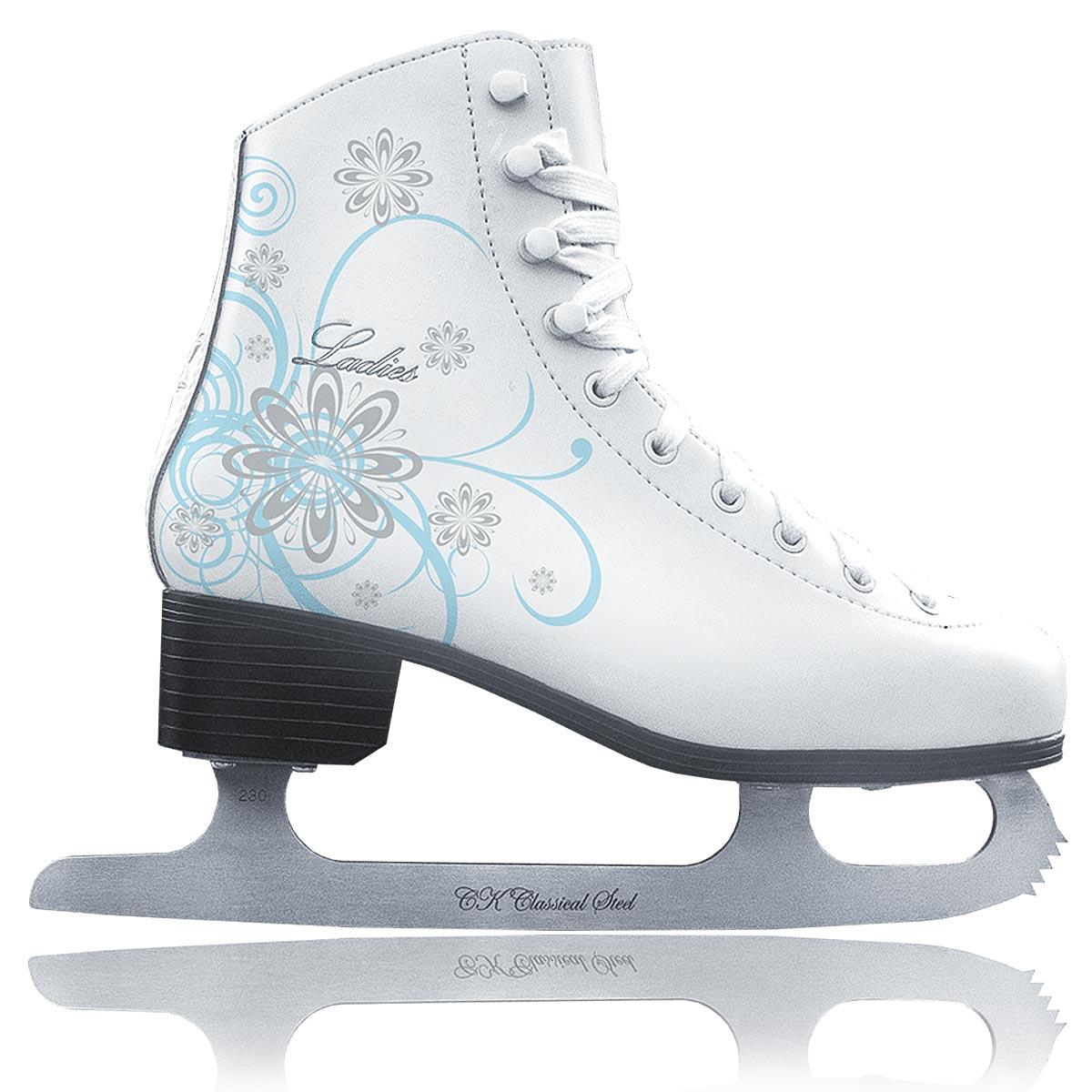 Коньки фигурные для девочки CK Ladies Velvet Classic, цвет: белый, голубой, серебряный. Размер 35 - Коньки