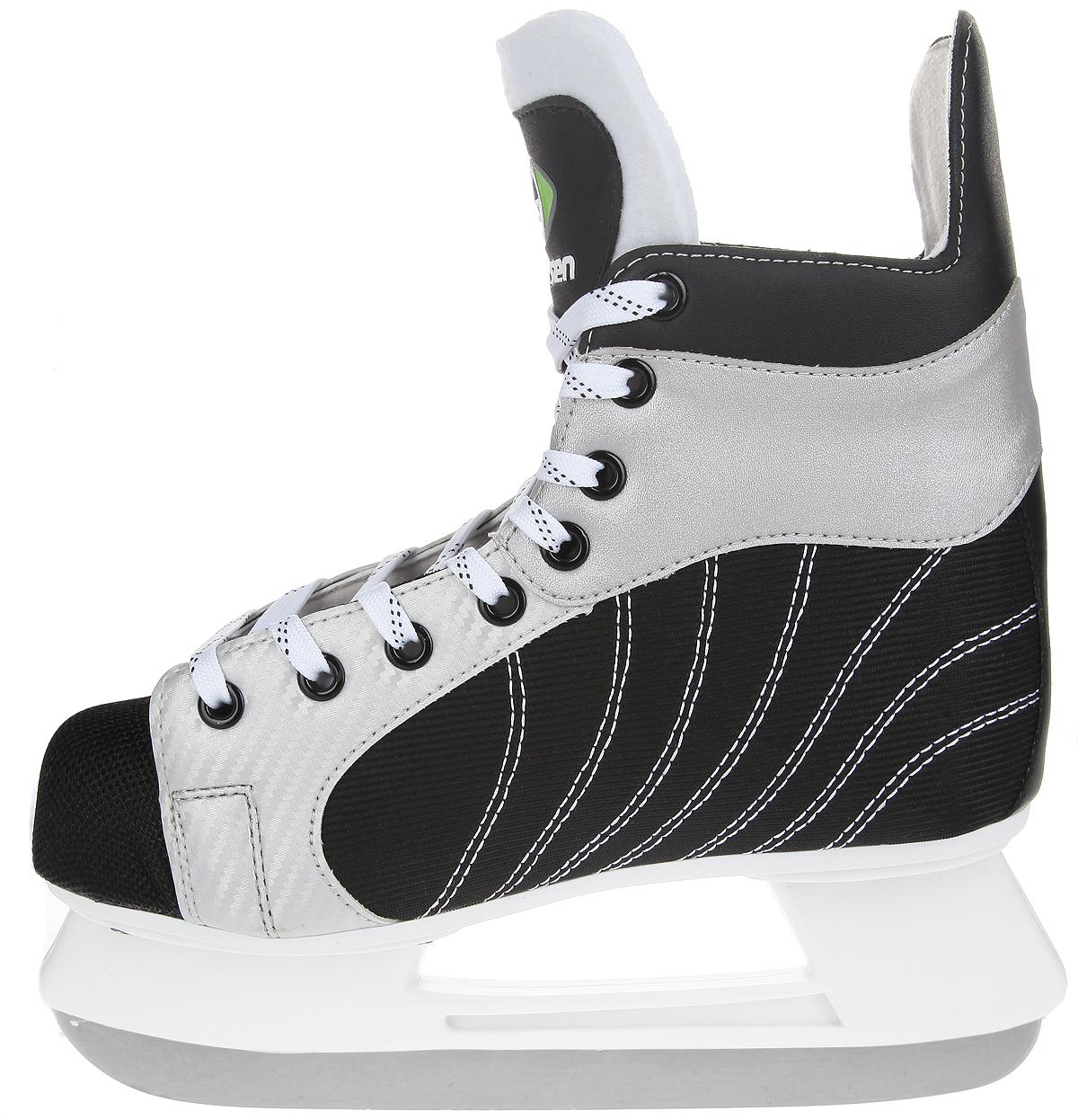 Коньки хоккейные мужские Larsen Light, цвет: черный, серебристый, белый. Размер 42