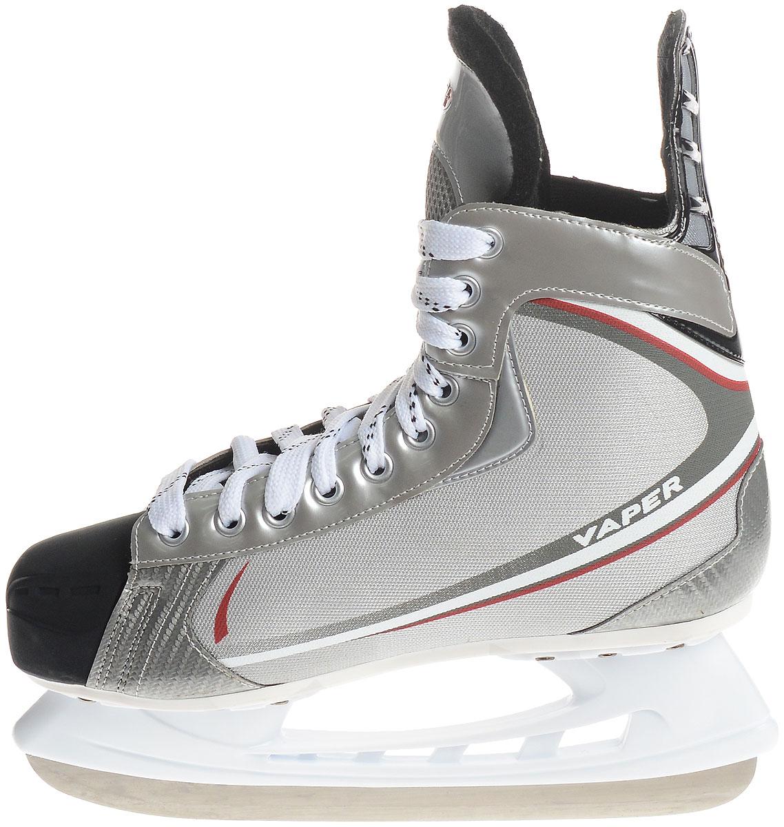 Коньки хоккейные мужские Hespeler Vaper, цвет: серый, белый, красный. Размер 41