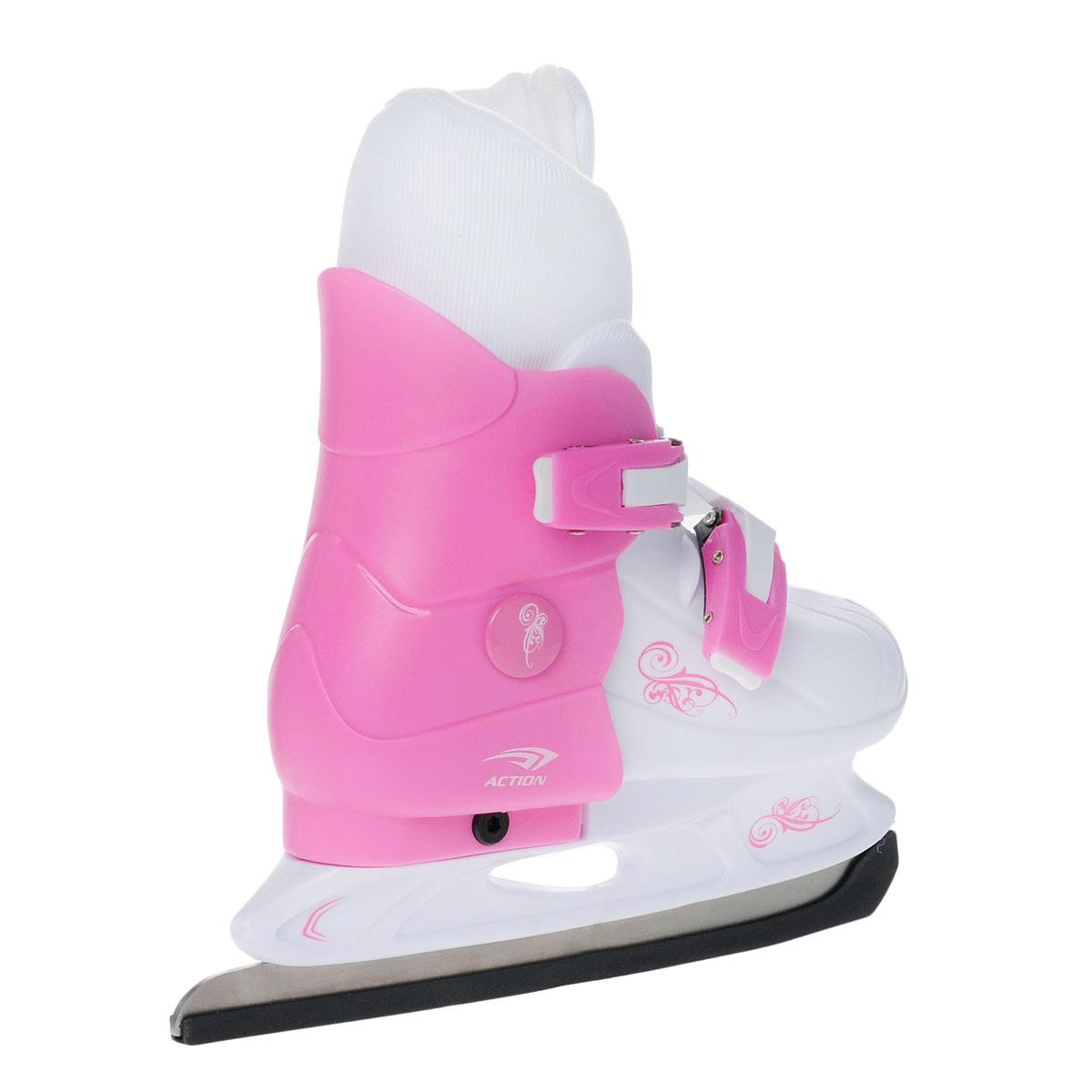 """Коньки детские Action """"PW-219"""", раздвижные, цвет: розовый, белый. Размер 29/32"""
