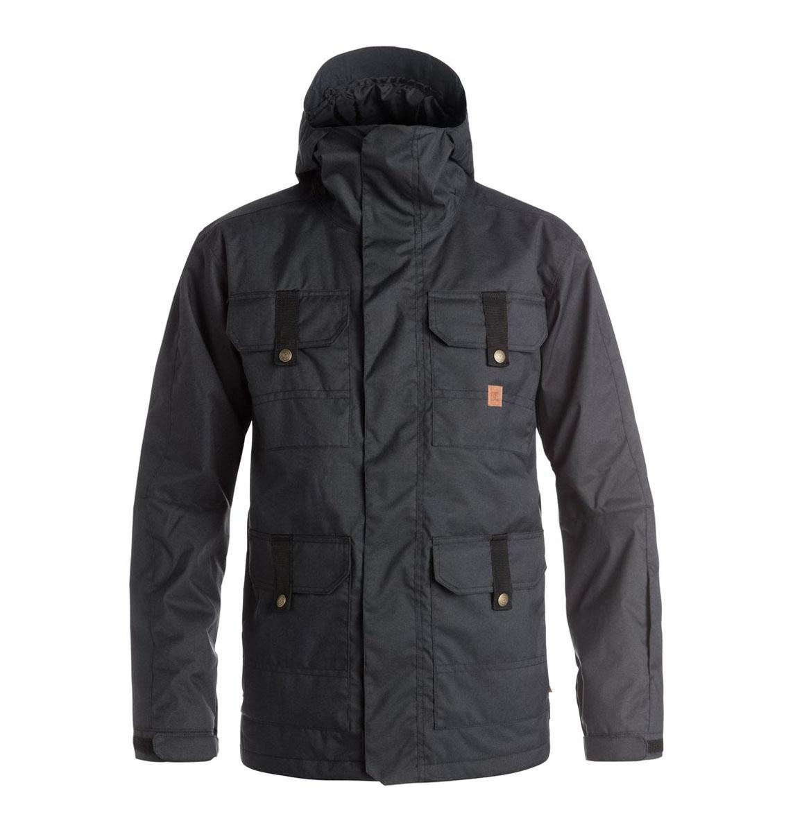 Куртка мужская DC Shoes, цвет: черный. EDYTJ03022. Размер M (52)EDYTJ03022-KVJ0Мужская куртка Quiksilverвыполнена из 100% полиэстера. В качестве подкладки и утеплителя также используется полиэстер. Изделие произведено из сырья высшего качества.Модель с несъемным капюшоном застегивается на застежку-молнию и имеет ветрозащитную планку на липучках. Край капюшона дополнен шнурком-кулиской и небольшим укрепленным козырьком. Низ рукавов дополнен хлястиком на кнопке, а внутренняя часть рукава оформлена эластичным манжетом с прорезью для большого пальца. Спереди расположено четыре накладных кармана с клапанами на кнопках и липучках и по бокам они же дополнены карманами намолнии, а с внутренней стороны - один накладной карман из сетчатой ткани. Под защитной планкой расположена застежка молния, которая дополнена отверстием для наушников. В поясе с внутренней стороны куртка имеет дополнительную подкладку на резинке, которая защитит от ветра и попадания снега.