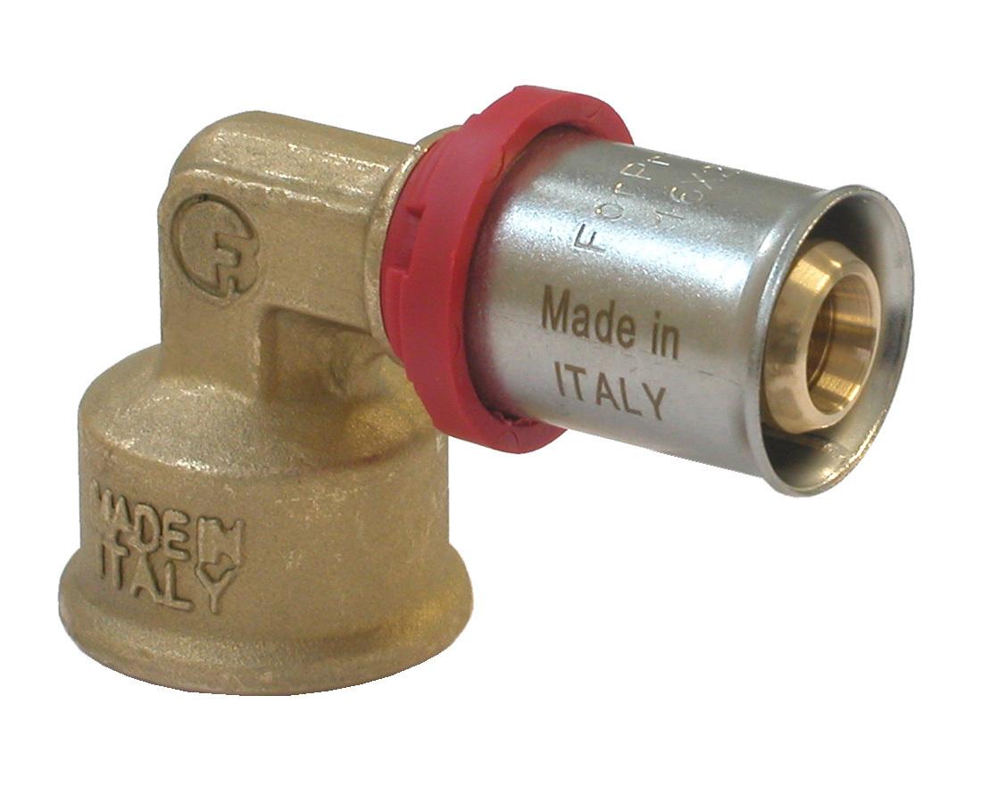 """Уголок """"Fornara"""" предназначен для соединения металлопластиковых труб с помощью разводного  ключа. Соединение получается разъемным, что позволяет при необходимости заменять  уплотнительные кольца, а также производить обслуживание участка трубопровода."""