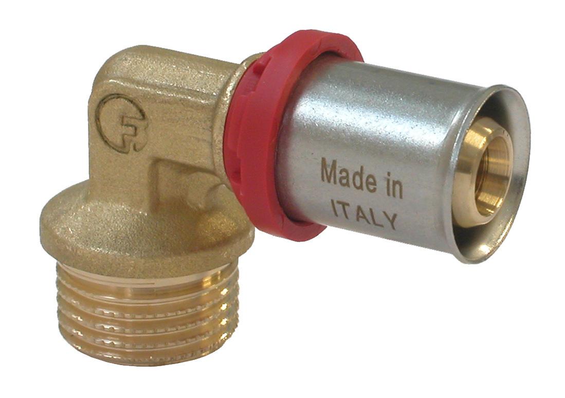Уголок Fornara под пресс, п - н, 20 x 3/430646Уголок Fornara предназначен для соединения металлопластиковых труб с помощью разводного ключа. Соединение получается разъемным, что позволяет при необходимости заменять уплотнительные кольца, а также производить обслуживание участка трубопровода.