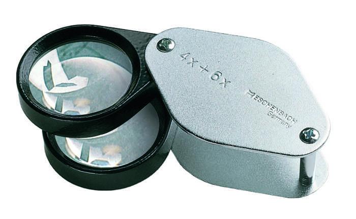 Лупа техническая складная в металлическом корпусе, диаметр 27 мм, 4.0х+6.0х=10.0х. 1187