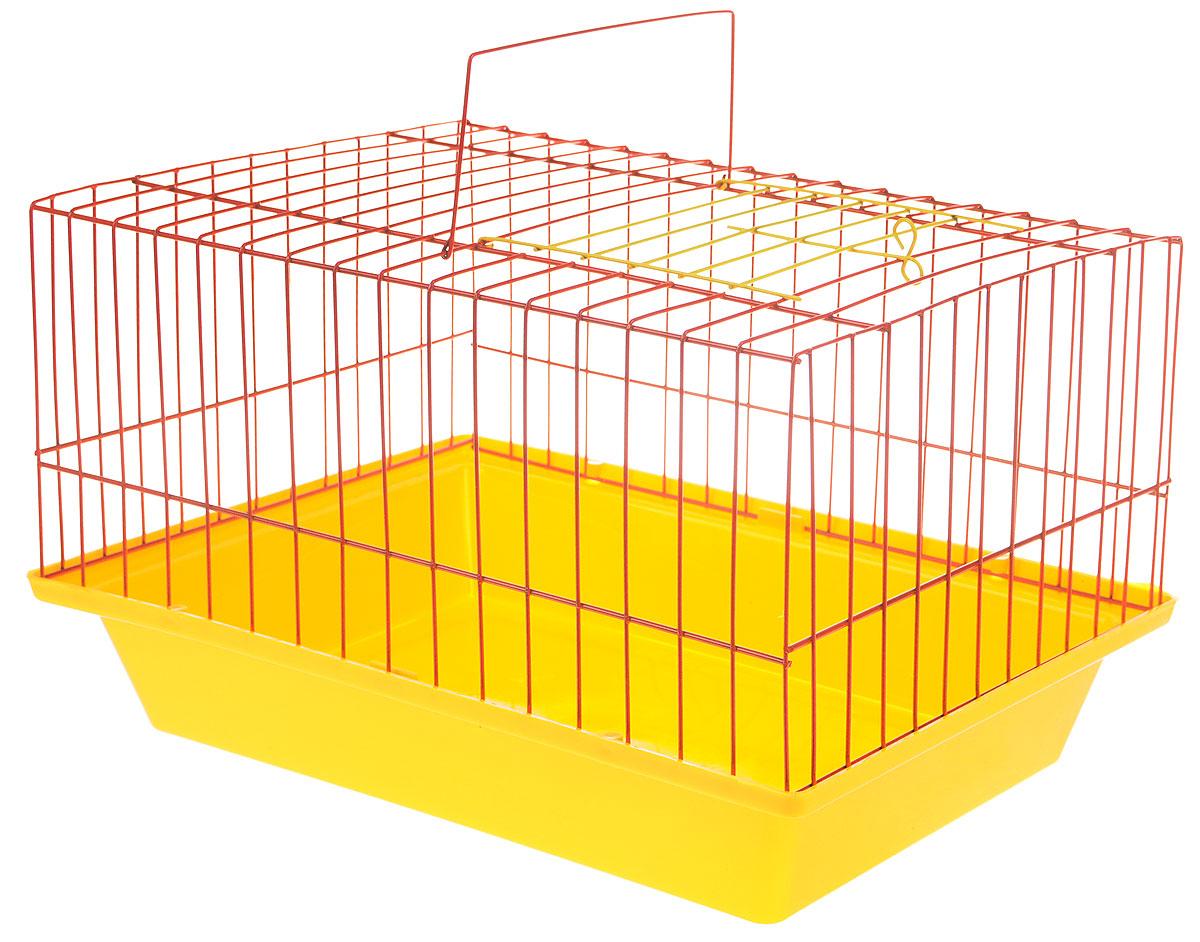 Клетка для морской свинки ЗооМарк, цвет: желтый поддон, красная решетка, 41 х 30 х 25 см210_желтый, красныйКлетка ЗооМарк, выполненная из полипропилена и металла, подходит для морских свинок и других грызунов. Клетка имеет яркий поддон, удобна в использовании и легко чистится. Сверху имеется ручка для переноски. Такая клетка станет личным пространством и уютным домиком для вашего питомца.