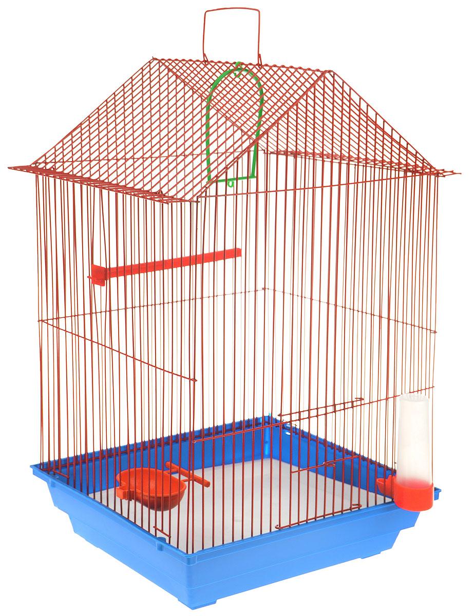 Клетка для птиц  ЗооМарк , цвет: синий поддон, красная решетка, 34 x 28 х 54 см - Клетки, вольеры, будки