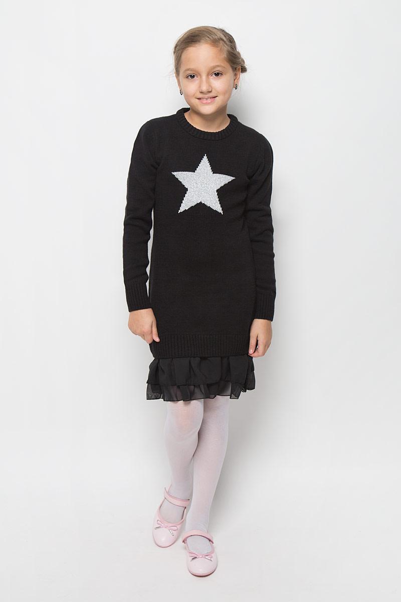 Платье для девочки Scool, цвет: черный. 364137. Размер 134, 9 лет364137Стильное платье для девочки Scool отлично подойдет юной моднице. Выполненное из вязаного трикотажа, оно мягкое и приятное на ощупь, не сковывает движения, обеспечивая комфорт.Платье с длинными рукавами и круглым вырезом горловины дополнено снизу двойной шифоновой оборкой. Вырез горловины, манжеты и низ изделия связаны резинкой. Украшено платье изображением звездочки с люрексной нитью.Стильное сочетание разных фактур и материалов придают платью неповторимый стиль и индивидуальность. В таком платье ваша принцесса всегда будет в центре внимания!